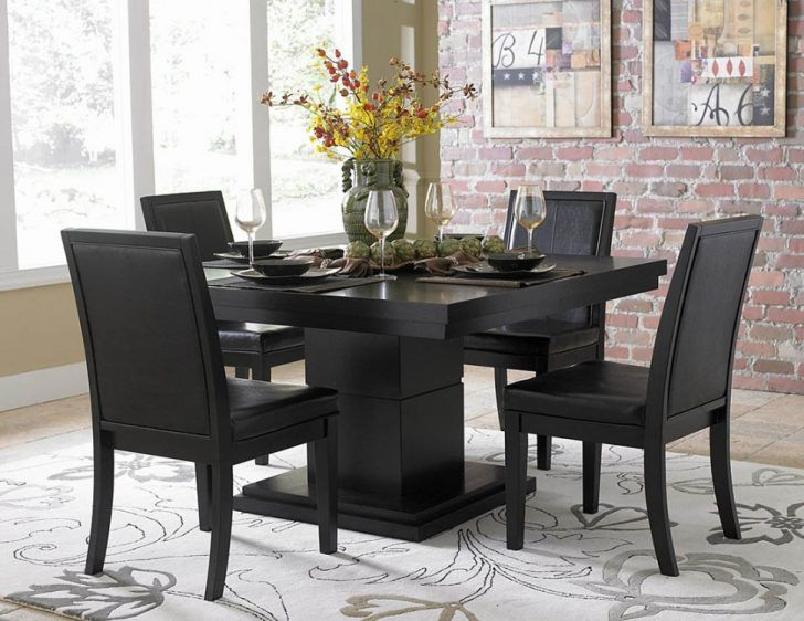 Dining Room:Sophisticated Black Dining Rooms Theme And Wall Decorating Ideas Classic Black Dining Room Sets With Yellow Flower Centerpiece Ideas