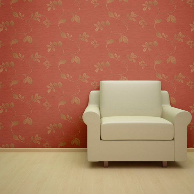 Burlap Metallic Leaves Designer Wallpaper from Nilaya by Asian Paints