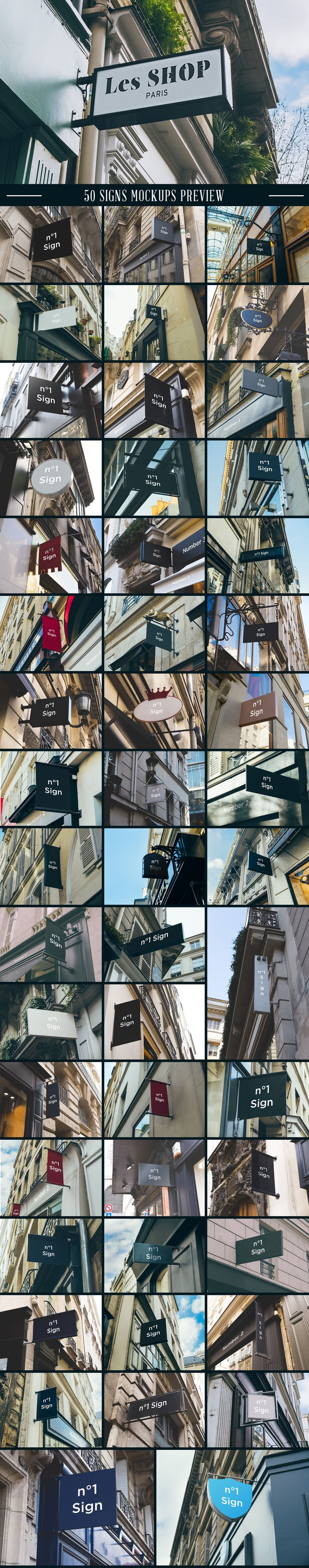 A massive collection of 100 Signs & Facades hight quality mockups. #sign…
