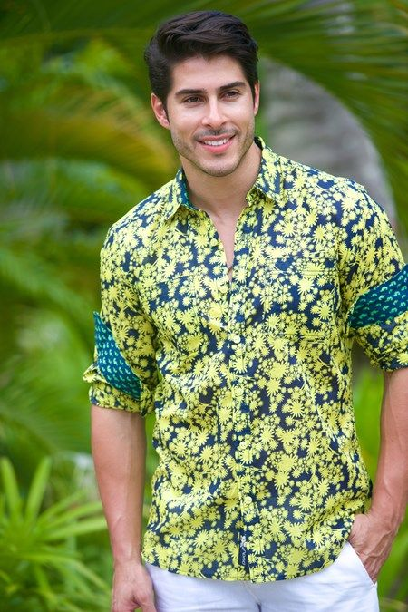 Don't blend in - Our Barbados Navy Yellow Flower Shirt !