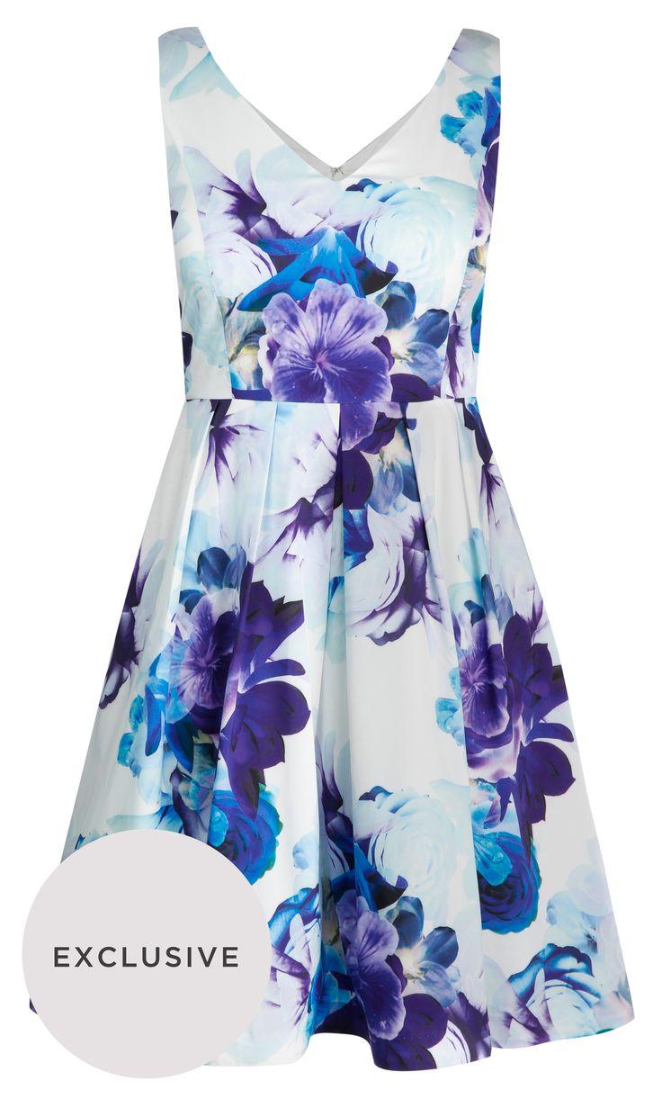 City Chic - BLUE BLOOM DRESS - Women's Plus Size Fashion