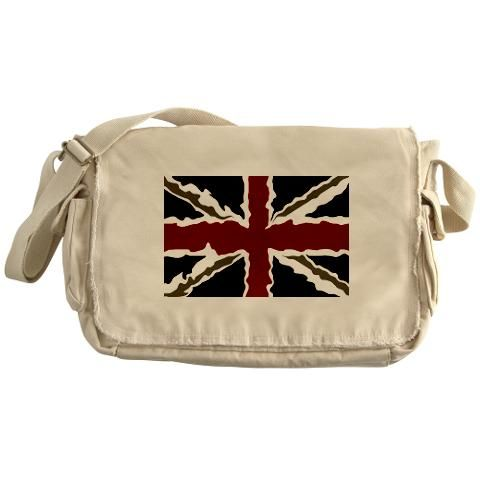 """BRIT N' SPIRED Messenger Bag    http://www.cafepress.com/britshop.662795726    Hit the road with this raw-edged and dyed canvas messenger bag. Get our cool, Union Jack variant design on this bag made of 100% cotton canvas. Enzyme-washed for a cool retro look.    - 16"""" W x 11 1/2"""" H x 4 3/4"""" D  - Adjustable shoulder strap  - Antique brass slider & D-ring  - Large flap with magnetic snap  - Side & zipped exterior and interior pockets $32.99"""