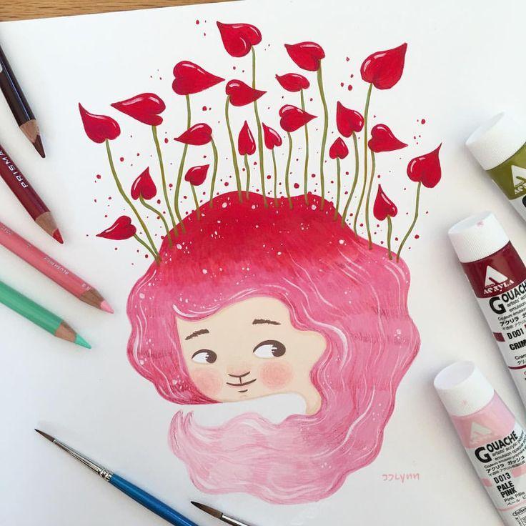 Have a lovely day  사랑스러운, 핑크핑크하고, 하트뿅뿅인 그런 날되시길- 너무 좋은 과슈타임!! . . . #heart #pink #love #사랑 #핑크 #러브#하트 . . #gouachepainting #gouache #acrylagouache #childrensillustration #illustration #artwork #painting #artist #artistsoninstagram #illustrator #illustratorsoninstagram #girl #jjlynndesign #일러스트레이션 #일러스트 #과슈 #과슈페인팅 #페인팅 #그림  #일러스타그램 #그림쟁이 #제이제이린 #소녀