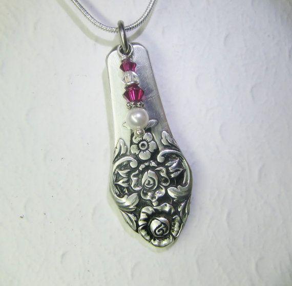 Spoon Necklace, Ruby Swarovski Crystals, White Pearl, 'Plantation' 1948