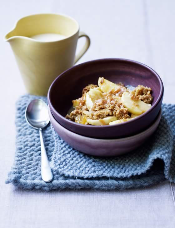 Toffee-apple crumble with whisky custard. A brilliant twist on a classic dessert. Serves 6