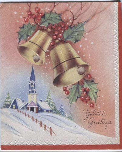 Vintage Marchant Christmas Card - Church with Bells.Dit soort KERSTKAARTEN vind zo leuk in de sneeuw en de Kerst klokken                                                       lbn xxx.QQQ