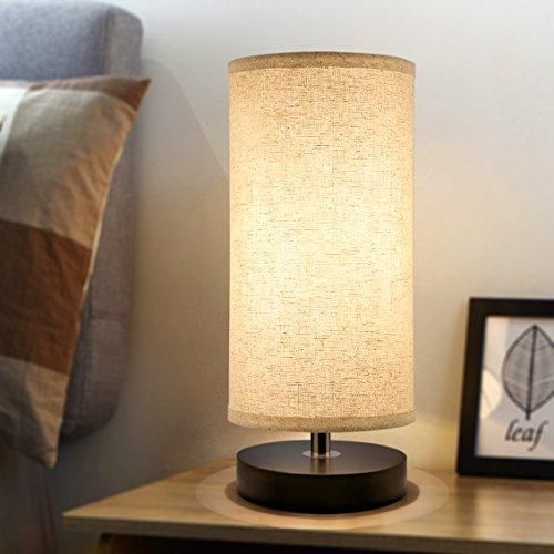 Bedside Table Lamp, Aooshine Minimalist Solid Wood Table Lamp Bedside Desk Lamp Simple Desk Lamp, Round Nightstand Lamp with Fabric Shade