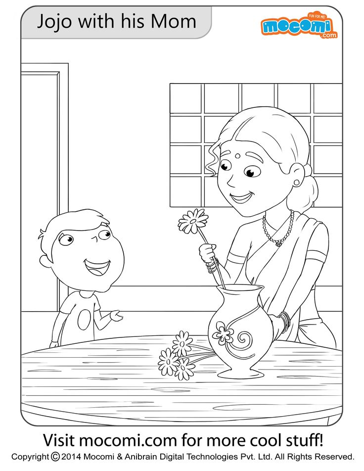 Jojo with his Mom Colouring Page Colouring Pages for