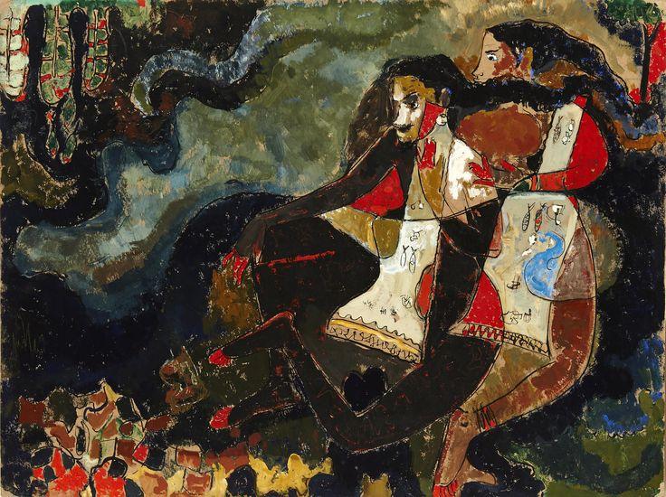 Mohan Samant Medium: Acrylic, gouache and marker on cardboard Year: 1952 Size: 18 x 23.7 in.