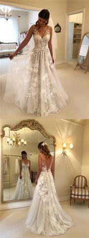 Unique V-Neck V-Back Long A-Line Wedding Dresses With Appliques, Cheap Wedding Dresses, Elegant Wedding Dresses, VB01182 Unique V-Neck V-Back Long A-Line Wedding Dresses With Appliques, Cheap Wedding Dresses, Elegant Wedding Dresses, VB01182