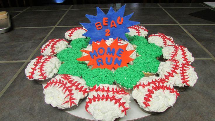 Baseball birthday cake & cupcakes.