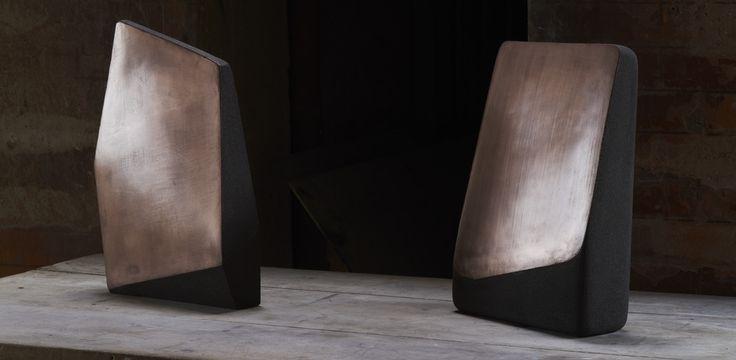 Guillaume Bardet, Monday 8th and Tuesday 9th 2010. Miroirs de terre n°6 et 7.  Sandstone and metal patina | Photograph © Pierre Olivier Deschamps for Bernard Chauveau Editeur | #ceramics #design #art #mudac #usagedesjours