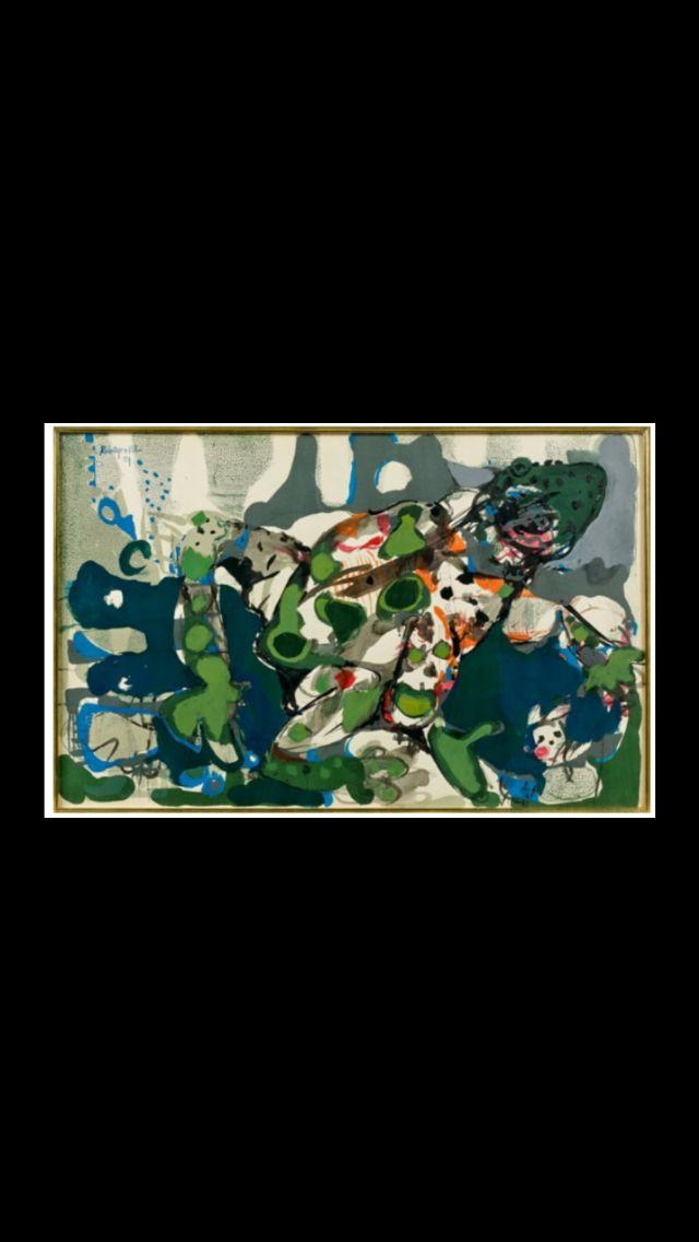"""Paul Rebeyrolle - """" Le Crapaud """", 1959 - Gouache sur papier - 40 x 61 cm (*)"""