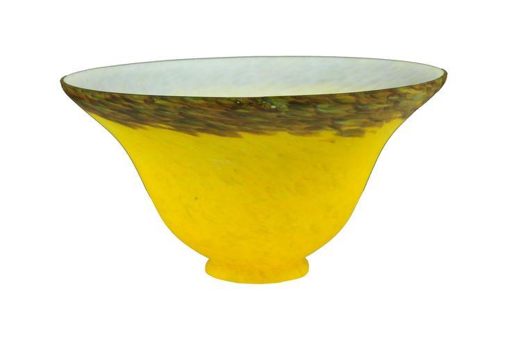 """Meyda 7.5""""W Yellow/Purple Pate-De-Verre Bell Shade"""