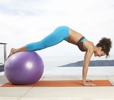 Reverse curl plank on ball: With this creative 20-minute fat-blasting workout you'll begin to see a toned tummy in just three weeks and drop up to two inches from your belly in just four weeks.   Health.com