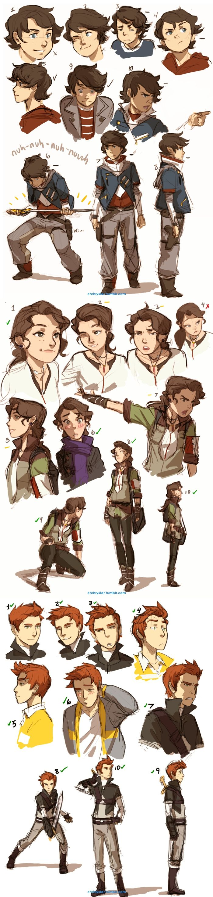 Trio Expression Sheets by *dCTb on deviantART (Looks like Adam at the top of the page and Erin in the middle.)