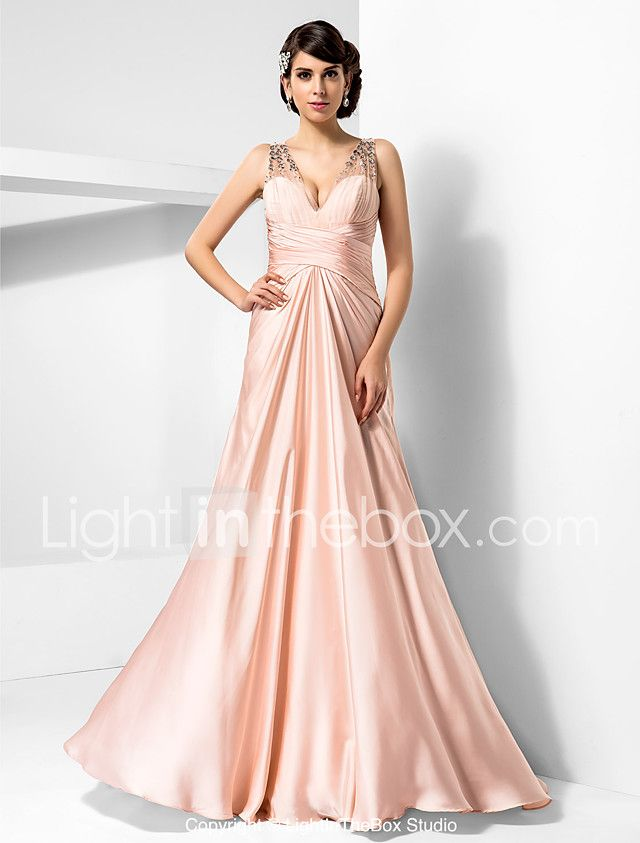 TS Couture® Prom / Formal Evening / Military Ball Dress - Sexy Plus Size / Petite Sheath / Column V-neck Floor-length Satin Chiffon with Beading / 2017 - $119.99