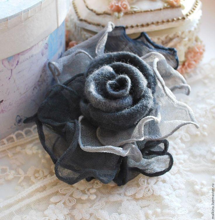 Купить Брошь роза Оттенки серого - серый, брошь, серая брошь, серая брошка
