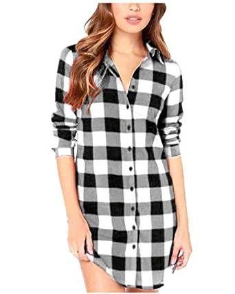 ZANZEA Camicia Blusa a Quadri Manica Lunga Casual Elegante Cotone Sexy Ufficio V-collo T-shirt Maliga per Donna Nero EU 46