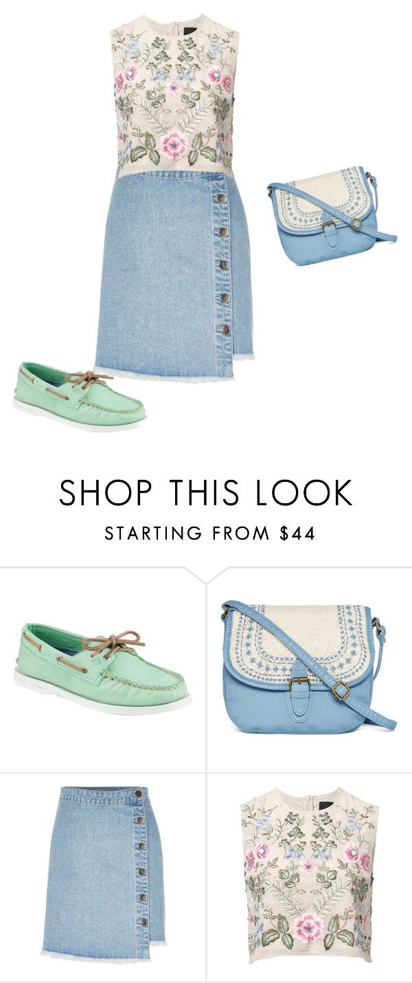 """""""Мокасины"""" by gerusm on Polyvore featuring мода, Sperry, T-shirt & Jeans, River Island и Needle & Thread"""