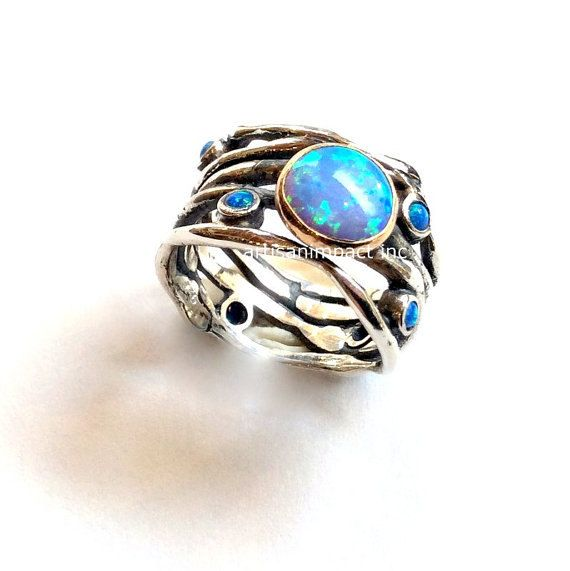 Opals Ring, Unique Engagement Ring, Organic Silver Ring