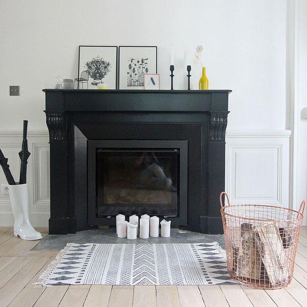 les 10 meilleures id es de la cat gorie chemin e noire sur pinterest manteaux de la chemin e. Black Bedroom Furniture Sets. Home Design Ideas