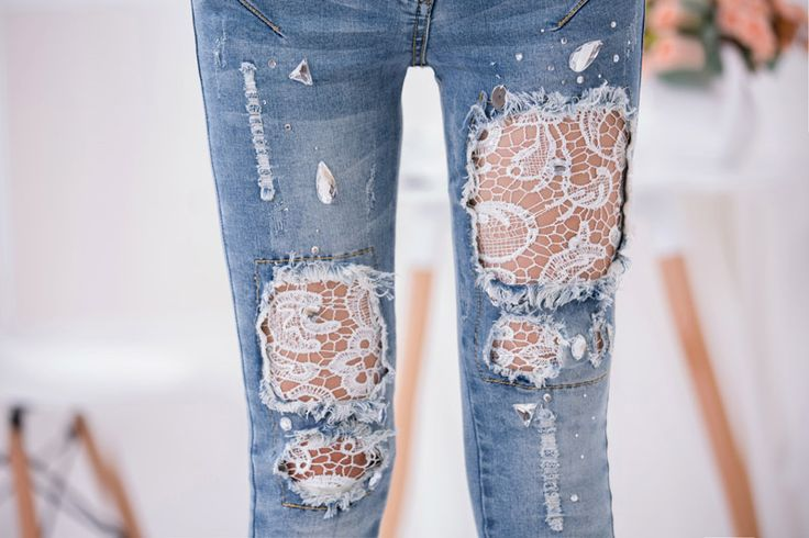 Nieuwe Fall vrouwen Slanke Skinny Lace Haak Stretch Denim jeans kant Hol Vrouwen Jeans Potlood Broek skinny broek Broek
