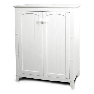 White Wooden Storage Cabinets With Doors
