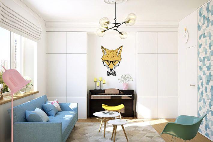 Дизайн однокомнатной квартиры с роялем для девушки