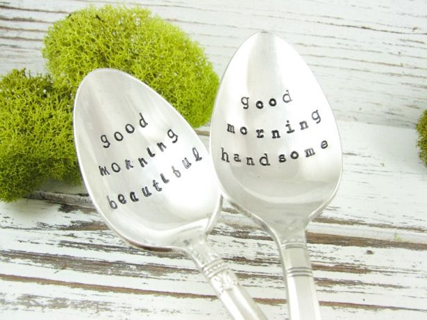 Good Morning Beautiful Good Morning Handsome Vintage Silverware Stamped Spoon - The Perfect Couples Gift - Set Of 2 - 520SP by Dazzling Dezignz on Gourmly
