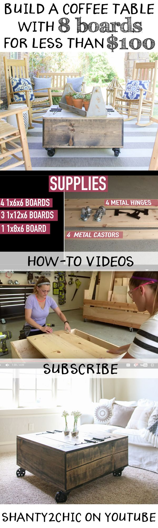 Build a custom storage coffee table with only 8 boards and for less than $100…