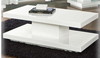 White minimal glossy coffee table