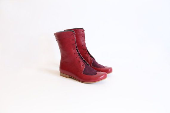 Bordeaux Leather combat boots, flat women's mid calf boots, handmade, adikilav,On Sale 20%
