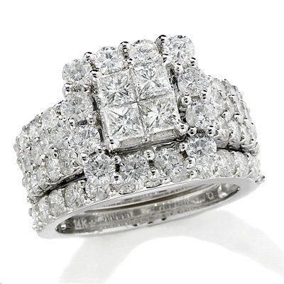 4 CT. T.W. Princess-Cut Quad Diamond Frame Bridal Set in 14K White Gold - View All Rings - Zales