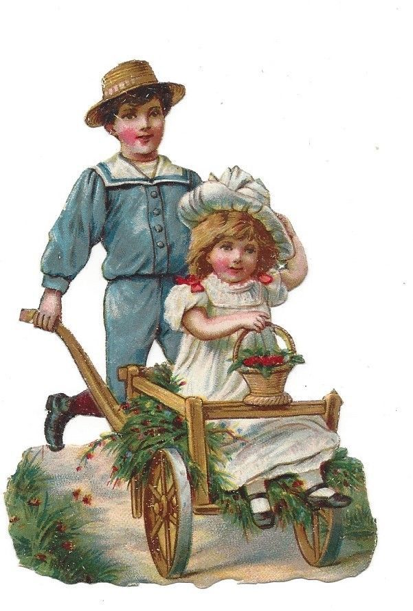 Victorian Die Cut Scrap of Boy pushing his Sister in a Cart