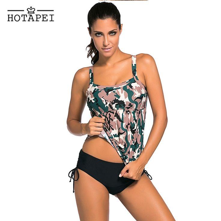 14.59$  Buy now - Hotapei Dark Camouflage Print 2pcs Tankini Swimsuits 2017 Women Swimwear Lingerie Beachwear Biquini Maillot De Bain LC41937  #magazineonlinewebsite