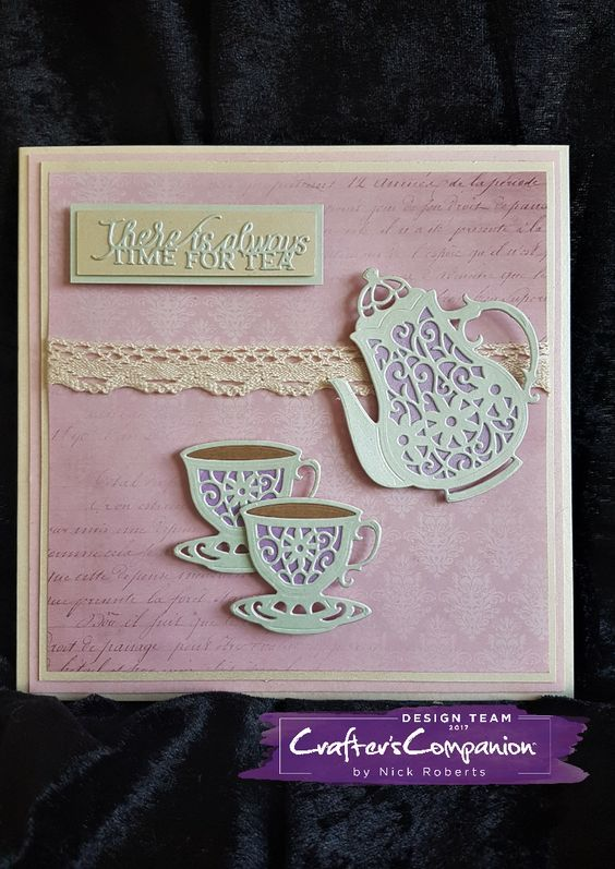 7 x 7 Card made using Sara Signature Vintage Tea Party Collection – Designed by Nick Roberts #crafterscompanion #ccgemini