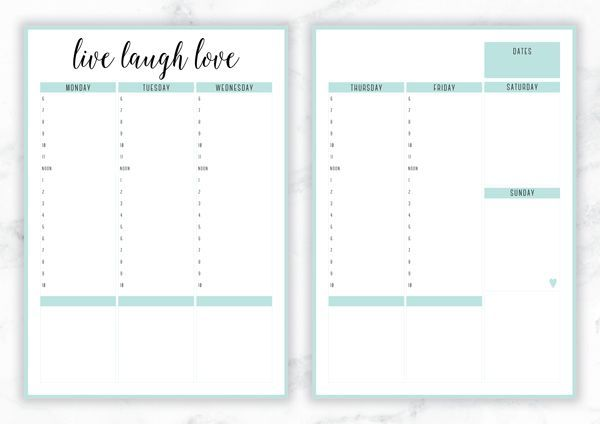 Free Printable Irma 'Live Laugh Love' Weekly Planner by Eliza Ellis - The perfect organizing solution for mums, entrepreneurs, bloggers, etsy sellers, professionals, WAHM's, SAHM's, students and moms. Available in 6 colors and both A4 and A5 sizes. Enjoy!