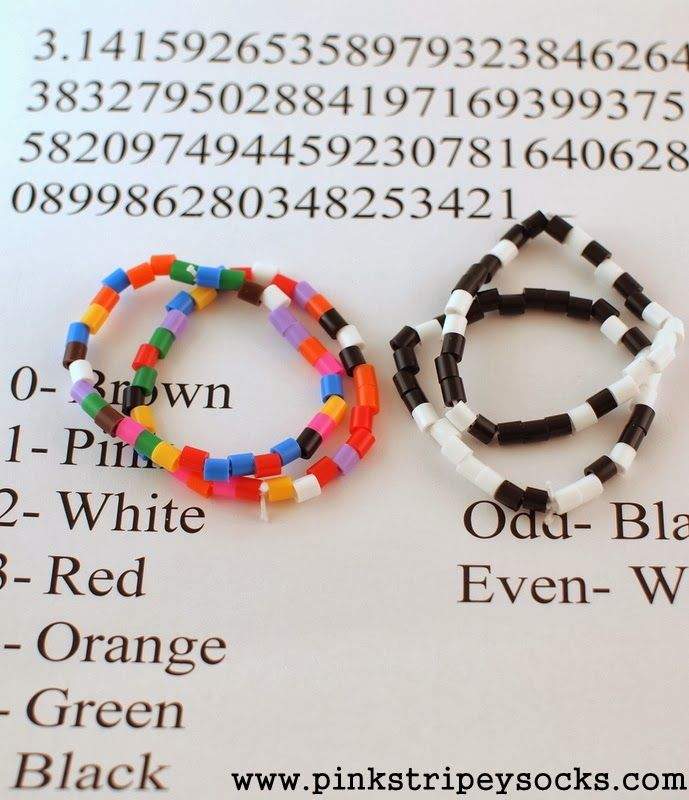 Pi Day Bracelet Easy Craft Activity where beads represent Pi's digits. Art + math!