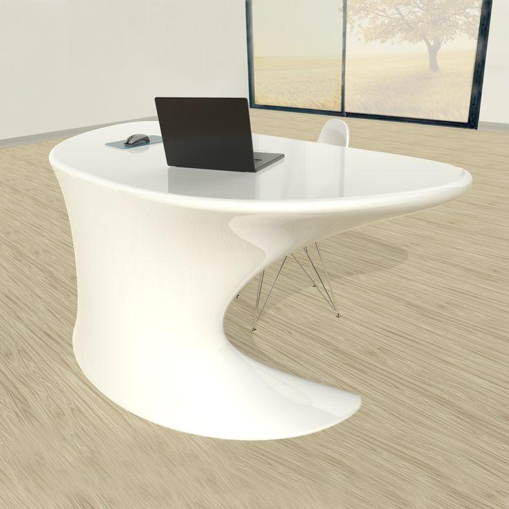 Scrivania+per+ufficio+Cobra+design+futuristico+in+resina+bianca+180+cm