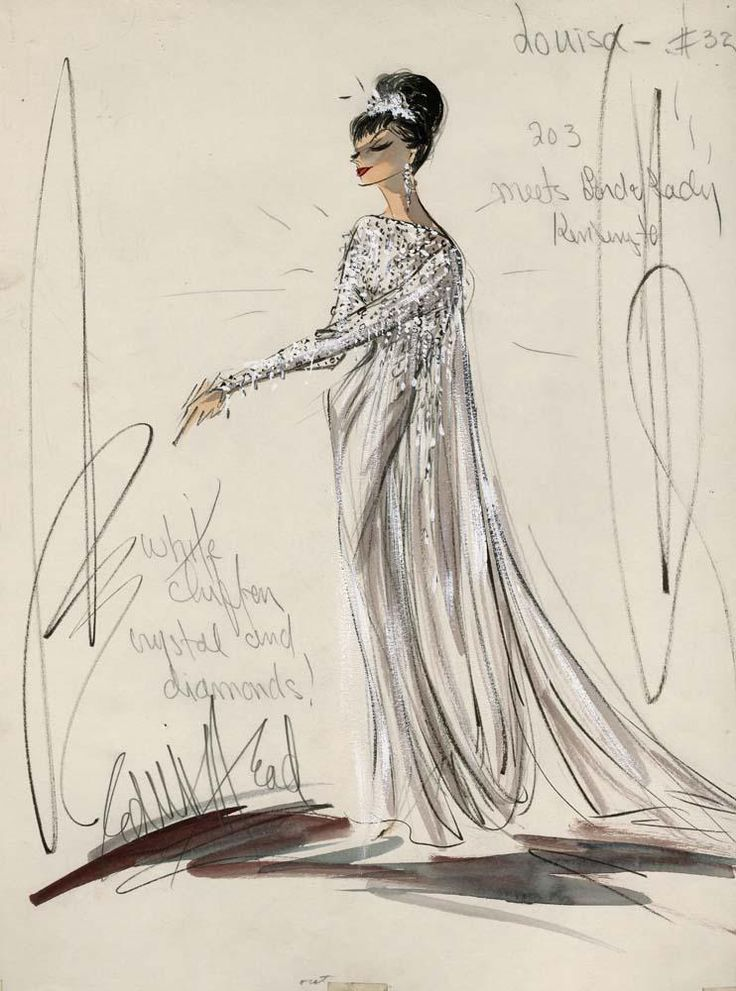 """Edith Head costume sketch of Shirley MacLaine for """"What a Way to Go"""", 1964"""