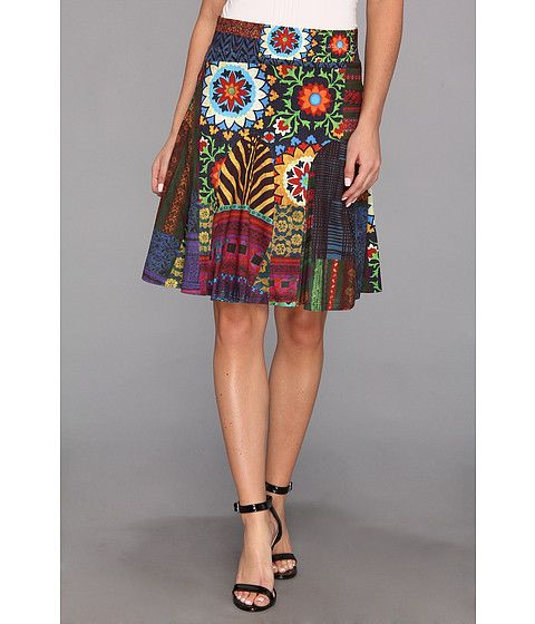 Graphic floral skirt from Desigual. #fashion #colorlove #zappos would go great with a plain white top and denim jacket