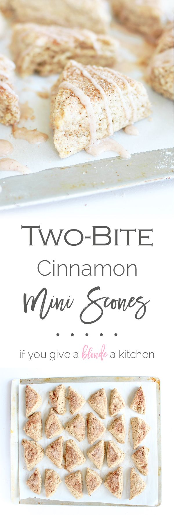 Two-bite cinnamon sugar scones are mini breakfast treats sweetened with cinnamon sugar. If you like snickerdoodles, you'll love these scones! | www.ifyougiveablondeakitchen.com