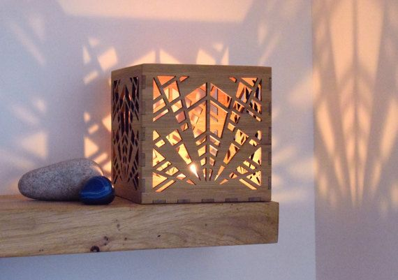 Art Deco Lantern Wooden Candle Holder Art Deco Tea by BeamDesigns