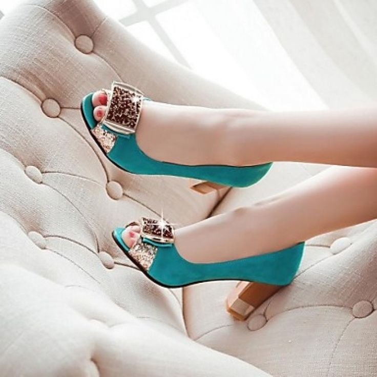 Flocking Women's Chunky Heel Peep Toe Pumps Shoes Nz (More Colors) only at NZ$70