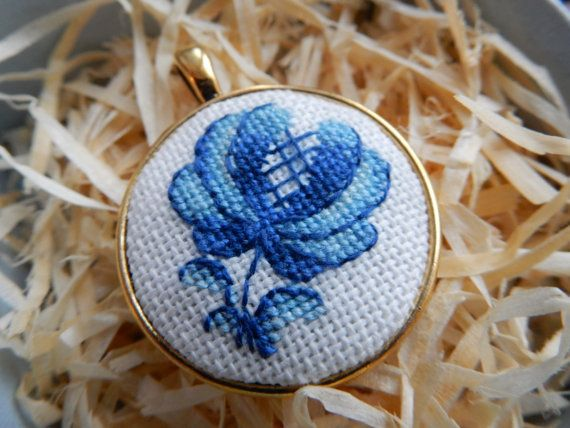 Crossstitch Pendant Blue flower Gzhel handmade by Microstitch