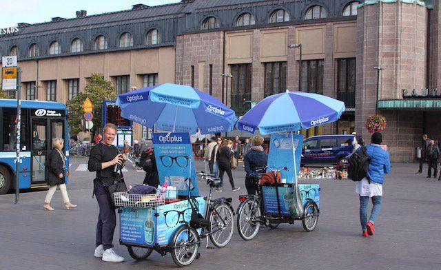 Angesagt in Helsinki: Dreiräder für Werbezwecke im Stadtzentrum