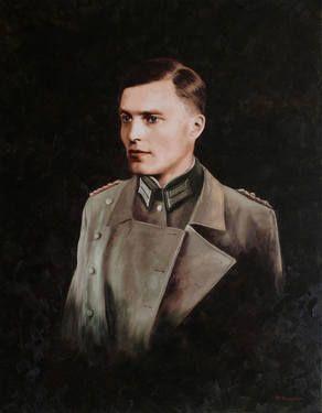 """Saatchi Art Artist Michael McNaughton; Painting, """"Portrait of Claus Schenk Graf von Stauffenberg (by Michael McNaughton, Portraitmaler, Hamburg)"""" #art"""