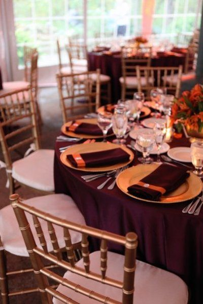 Fall  Gold Ivory Orange Purple Centerpiece Centerpieces Chairs Indoor Reception Place Settings Wedding Flowers Photos & Pictures - WeddingWire.com