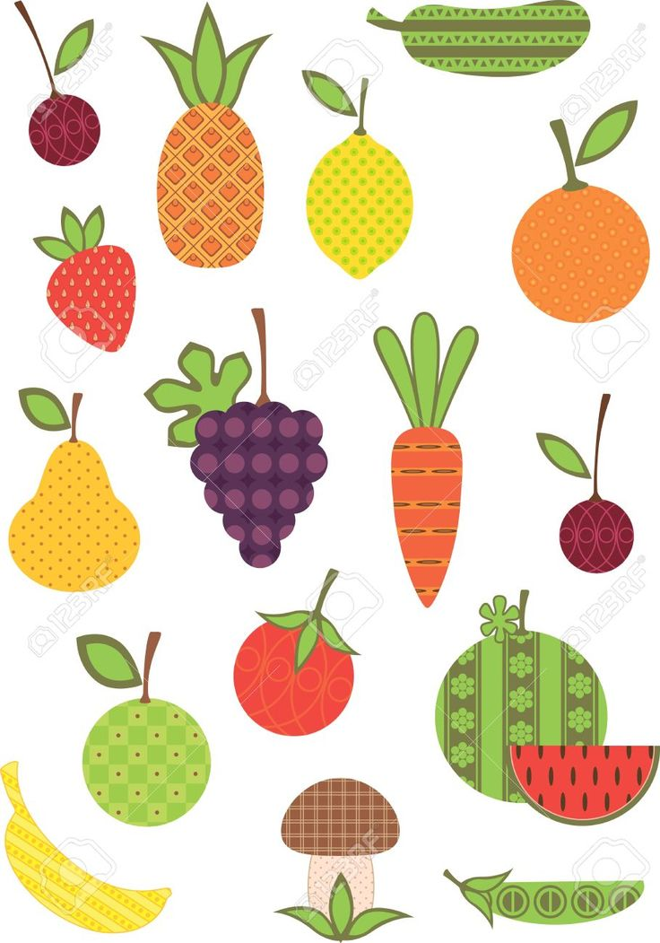 9305023-fruit-and-vegetable-collection-stylized.jpg (910×1300)